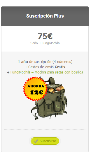 Suscripción Plus a Cesta y Setas con mochila para setas