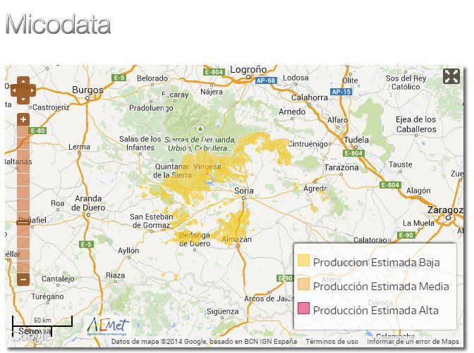 mapa producción de setas
