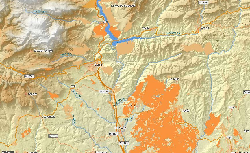Mapa de encinares y robledales de Berga