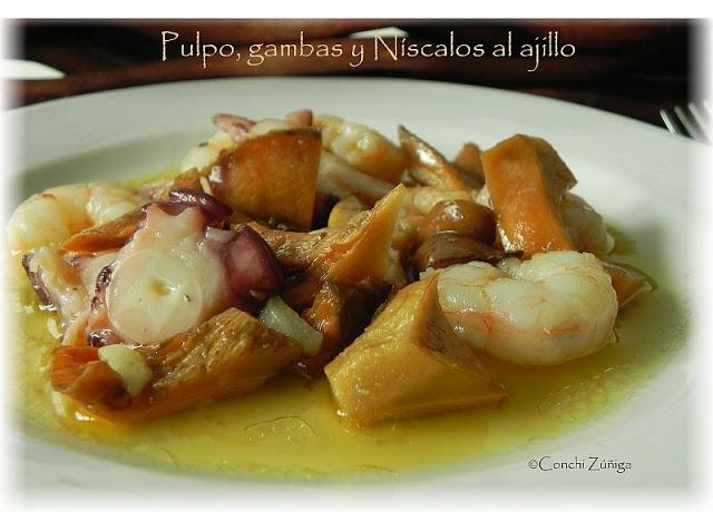 Cocinar Niscalos Ajillo   Pulpo Gambas Y Niscalos Al Ajillo Cesta Y Setas Tienda Y
