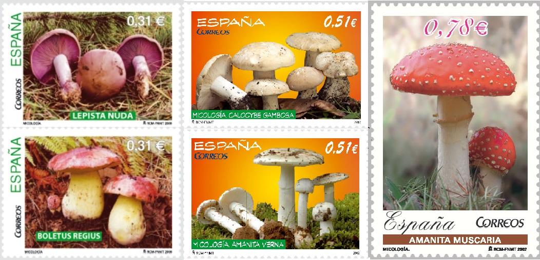 Varios sellos de setas emitidos en España (2007-2015). Crédito Correos (2019)