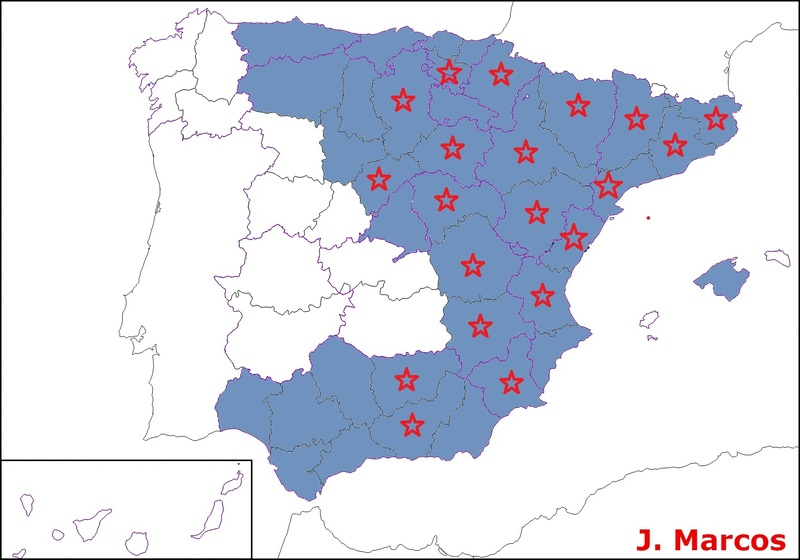 Mapa de distribución en España de Tuber aestivum (azul) y Tuber melanosporum (estrella roja). Crédito Javier Marcos.